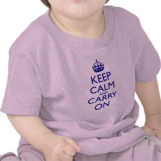 Keep Calm and Carry On Navy Blue Text Shirts