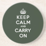Keep Calm and Carry On Olive Green Drink Coasters