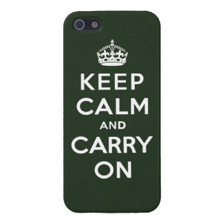 Keep Calm and Carry On Olive Green iPhone SE/5/5s Cover