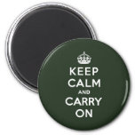 Keep Calm and Carry On Olive Green Refrigerator Magnet