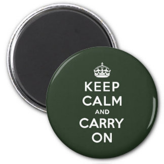 Keep Calm and Carry On Olive Green 2 Inch Round Magnet