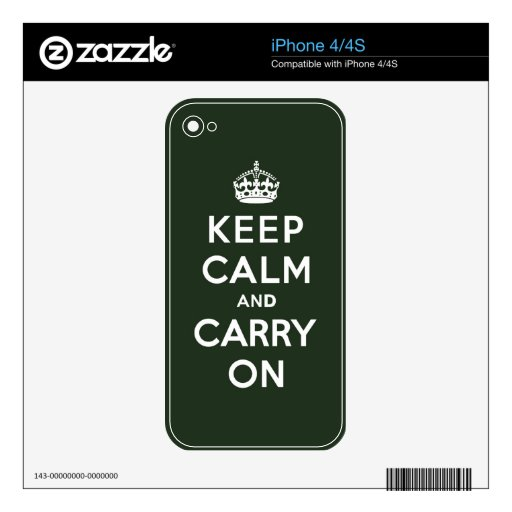 Keep Calm and Carry On Olive Green Skin For The iPhone 4S
