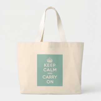 Keep Calm and Carry On on Light Blue Canvas Bags