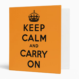 keep calm and carry on - Orange and black Binder
