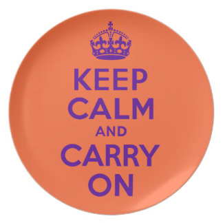 Keep Calm And Carry On Orange and Purple Plate