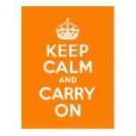 Keep Calm and Carry On Orange Postcard