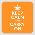 Keep Calm and Carry On Orange Square Sticker