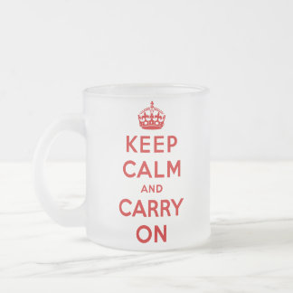 keep calm and carry on Original Frosted Glass Coffee Mug