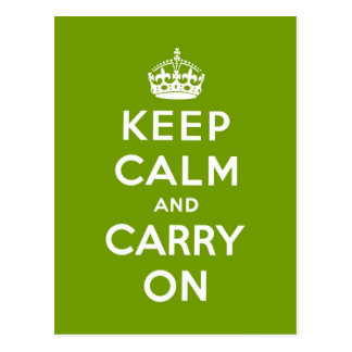 keep calm and carry on Original-Green and white Postcard