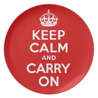Keep Calm and Carry On Original Red and White Dinner Plate