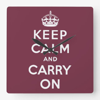 keep calm and carry on Original Square Wall Clock
