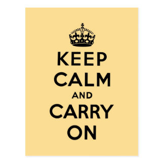 keep calm and carry on Original-yellow and black Postcard