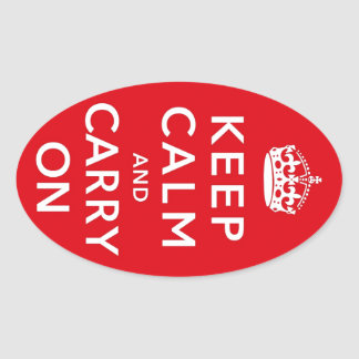 Keep Calm and Carry On Oval Sticker