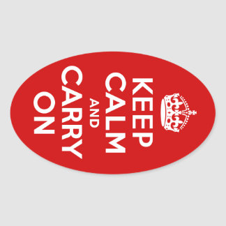 Keep Calm and Carry On Oval Stickers