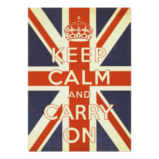 Keep Calm and Carry On - over British Flag Poster