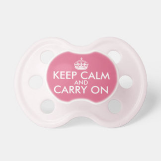 Keep Calm and Carry On Pacifier, Pink Pacifier