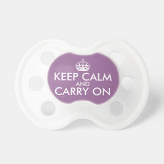 Keep Calm and Carry On Pacifier, Purple Pacifier