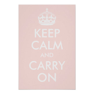 Keep Calm and Carry On Pale Pink Print