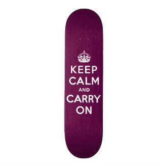 Keep Calm and Carry On Passionate Purple Custom Skate Board