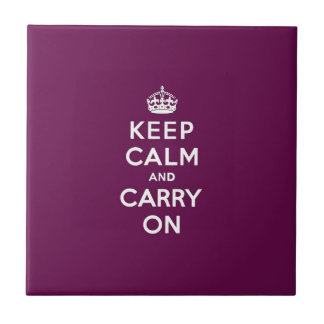 Keep Calm and Carry On Passionate Purple Small Square Tile