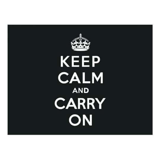 Keep Calm and Carry On Paynes Grey Postcard