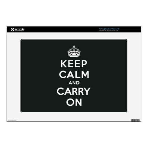 """Keep Calm and Carry On Paynes Grey Decals For 15"""" Laptops"""