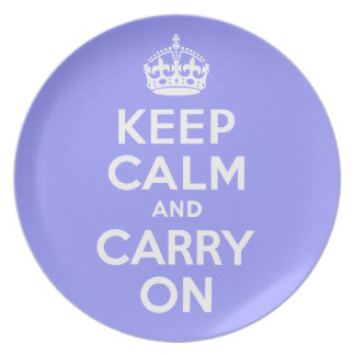 Keep Calm And Carry On Periwinkle and White Melamine Plate