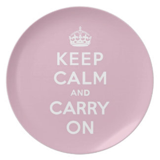 Keep Calm and Carry On Persian Rose Dinner Plate