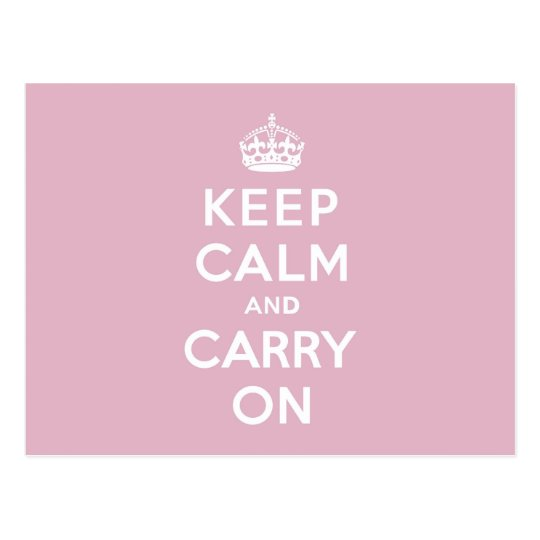 Keep Calm and Carry On Persian Rose Postcard