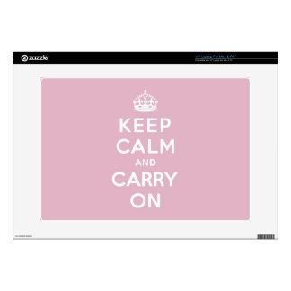 """Keep Calm and Carry On Persian Rose 15"""" Laptop Skin"""