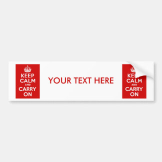 Keep Calm and Carry On ~ Personalized Bumper Sticker