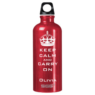 KEEP CALM AND CARRY ON PERSONALIZED SIGG TRAVELER 0.6L WATER BOTTLE