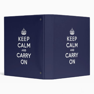 Keep Calm and Carry On Phthalo Blue Binders