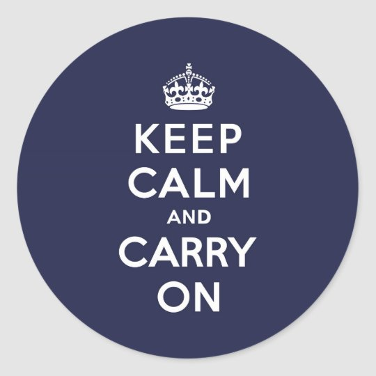 Keep Calm and Carry On Phthalo Blue Classic Round Sticker