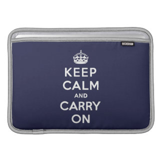 Keep Calm and Carry On Phthalo Blue Sleeves For MacBook Air