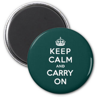 Keep Calm and Carry On Phthalo Green 2 Inch Round Magnet