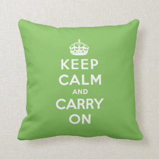 Keep Calm and Carry On Pillow - Green