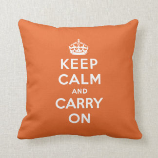 Keep Calm and Carry On Pillow - Orange