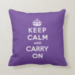 Keep Calm and Carry On Pillow - Purple
