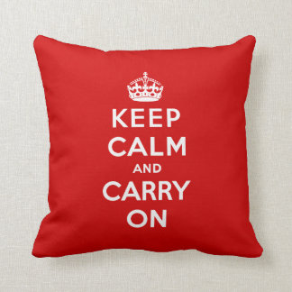 Keep Calm and Carry On Pillow - Red