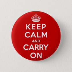 Round Button with Keep Calm and Carry On (Red) design
