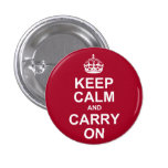 keep calm and carry on pinback buttons