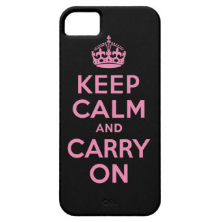 Keep Calm And Carry On Pink and Black iPhone 5 Cases