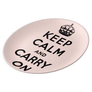 keep calm and carry on -  Pink and black Porcelain Plates