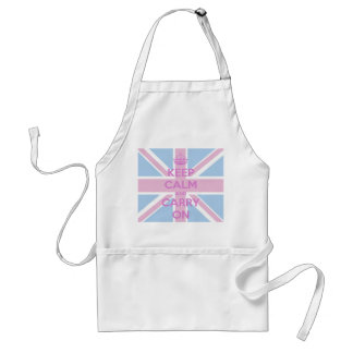 Keep Calm and Carry On Pink and Blue Union Jack Adult Apron