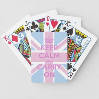 Keep Calm and Carry On Pink and Blue Union Jack Bicycle Playing Cards