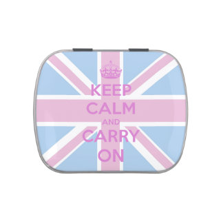 Keep Calm and Carry On Pink and Blue Union Jack Candy Tins