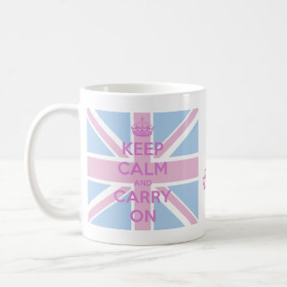 Keep Calm and Carry On Pink and Blue Union Jack Classic White Coffee Mug