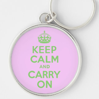Keep Calm And Carry On Pink and Green Silver-Colored Round Keychain