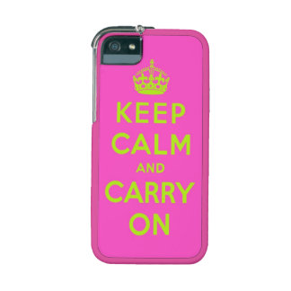 keep calm and carry on -  Pink and green neon iPhone 5 Covers